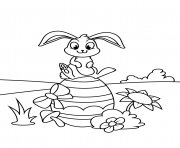 cute bunny sitting on easter egg coloring pages