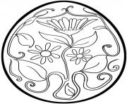 Easter Egg with flowers for Adult coloring pages