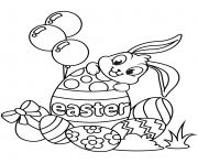 cute easter bunny and eggs coloring pages