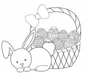 cute rabbit easter eggs basket coloring pages
