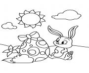 cute bunny and easter egg coloring pages