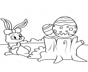 cute easter bunny and eggs on hemp  coloring pages