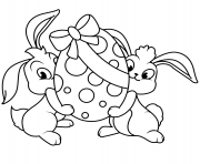 two easter bunnies with egg coloring pages