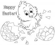 happy easter chick egg coloring pages