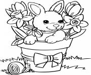Printable easter bunny flowers coloring pages