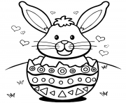Printable easter bunny eggs hearts coloring pages