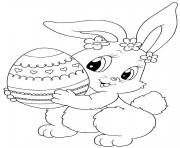 cute easter bunny with egg coloring pages