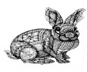 Printable easter bunny adult zentangle antistress coloring pages