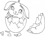 Printable cute easter bunny egg coloring pages