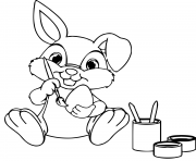 easter bunny paint eggs coloring pages