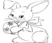 Printable easter bunny bunny with egg coloring pages