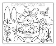 happy easter cute bunny rabbit eggs coloring pages
