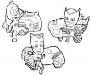 catboy owlette and gekko pj masks cars disney coloring pages - Pj Masks Coloring Pages