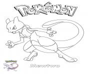 Printable Mewtwo Pokemon coloring pages