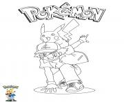 Printable Ash and Pikachu Pokemon coloring pages