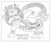 Printable namaste bitches swear word coloring pages