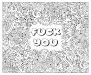 Printable fuck you swear word coloring pages