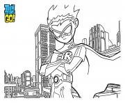 Printable robin on the top of hte city teen titans coloring pages