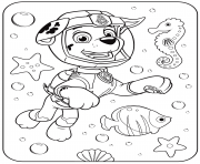 Printable PAW Patrol Marshall Underwater coloring pages