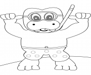 snorkeling hippo coloring pages