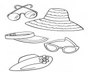 Printable Beach accessories coloring pages