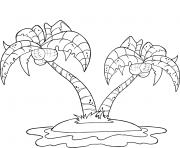 coconut palm trees on island