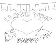 Printable i love you daddy kids coloring pages
