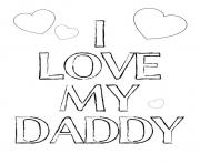 Printable i love my daddy fathers day coloring pages