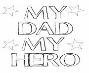 Printable my dad my hero fathers day coloring pages