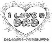 Printable fathers day i love you dad coloring pages