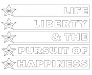 4th of july life liberty happiness coloring pages