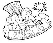Free Fourth of July Teddy Bear coloring pages