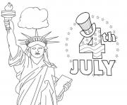 Printable fourth july america coloring pages