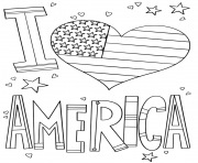 Printable i love america 4th july coloring pages