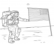 neil armstrong on moon usa america coloring pages
