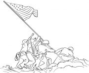 raising the flag on iwo jima coloring pages