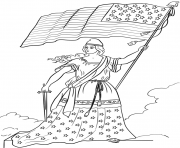 Printable american flag lady coloring pages