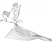 Printable bald eagle carrying american flag coloring pages