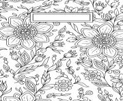 Printable Binder Cover Adult Flowers Antistress coloring pages