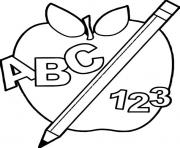 Printable abc 123 back to school apple coloring pages