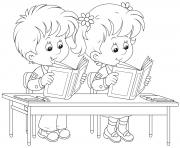 Printable back to school kids reading books coloring pages