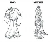 Smallfoot Movie Migo And Meechee coloring pages
