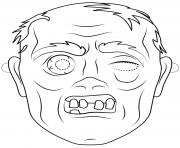 zombie mask outline halloween coloring pages