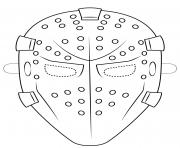 goalie mask outline halloween coloring pages