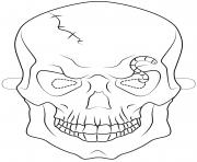 halloween skull mask outline halloween coloring pages