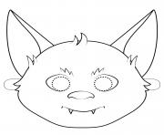 bat mask outline halloween coloring pages