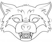 big bad wolf mask outline halloween coloring pages