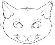 black cat mask outline halloween coloring pages