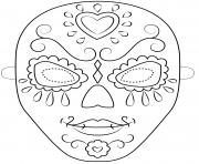 day of the dead mask outline halloween coloring pages