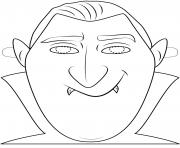 dracula mask outline halloween coloring pages